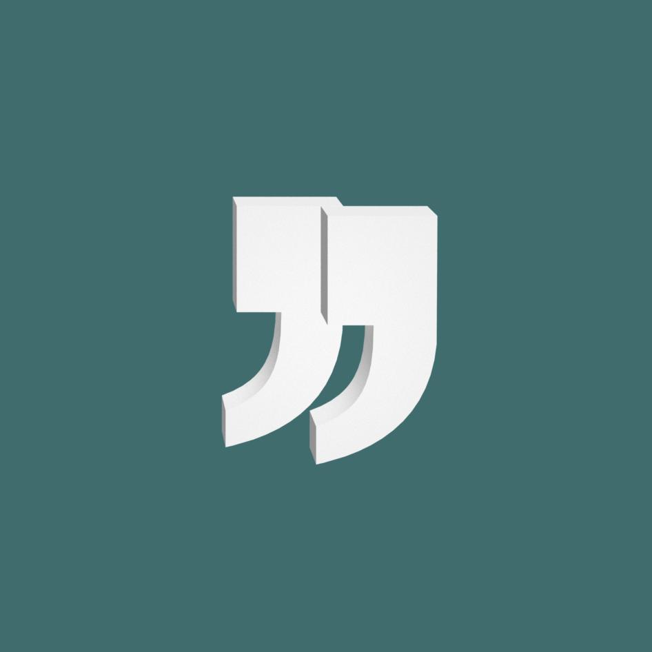 logo descitationspourtous : guillemets en 3D